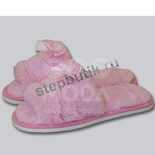 160 Тапочки мех. с открытым носком (35-40) роз