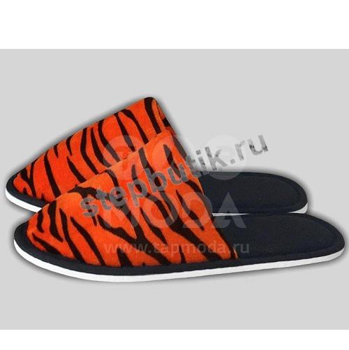 """221 Тапочки """"Тигровый принт"""" (35-40) рыж"""