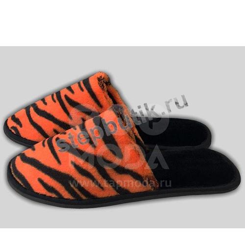 """219 Тапочки мужские """"Тигровый принт"""" (40-45) рыж"""