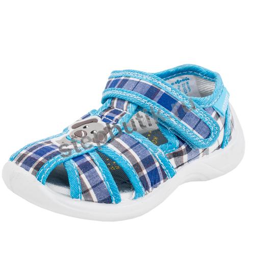 221028-11 Сандалии текстиль (22-27) синий